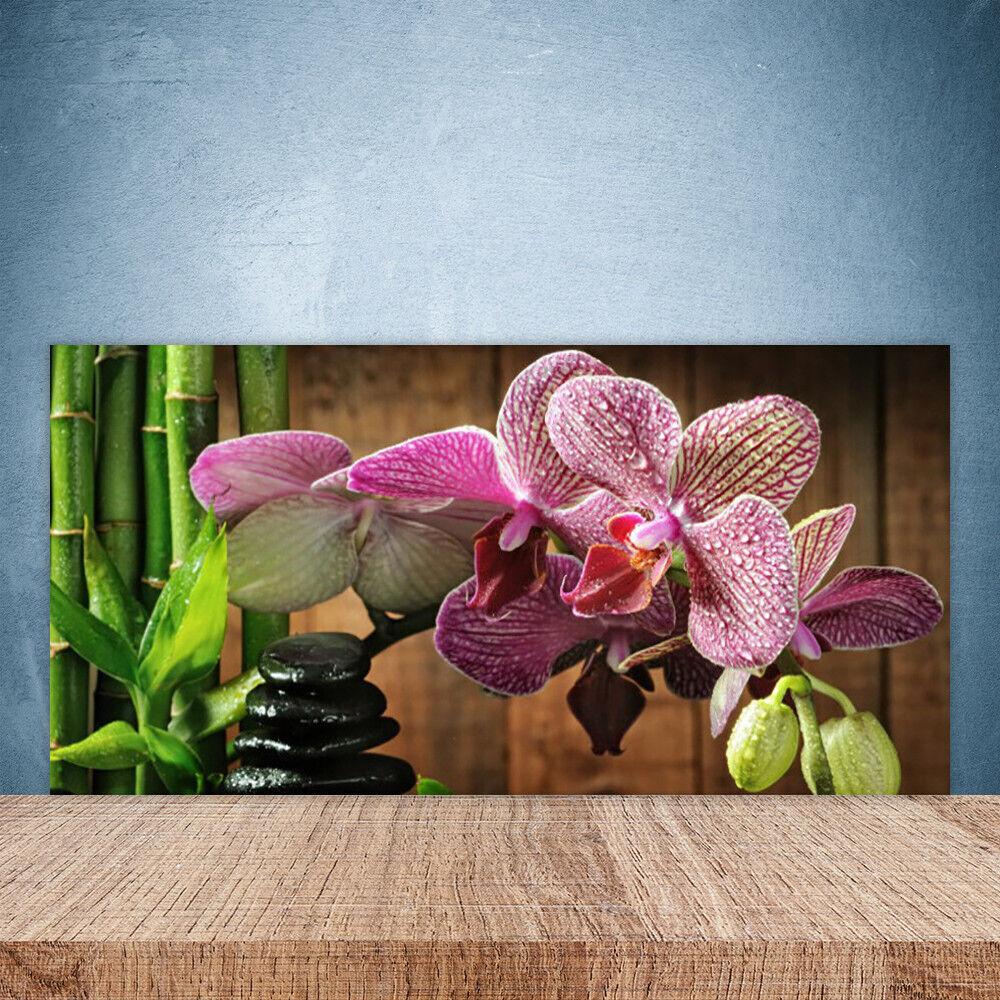 Crédence de cuisine en verre Panneau Paroi 100x50 Floral Fleurs Bambou Pierres