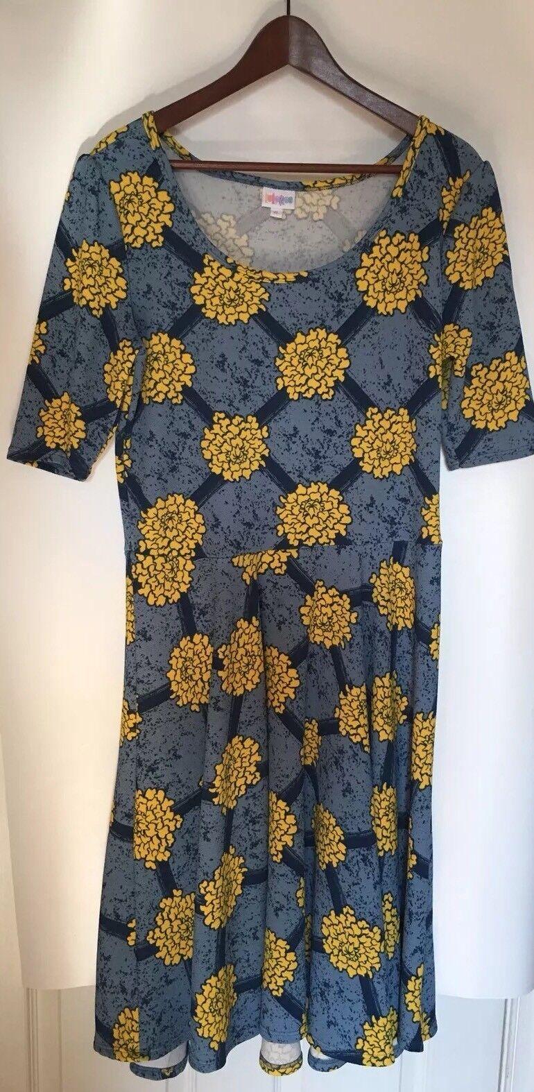 Lularoe Women's Dress Nicole bluee Yellow  Marigold Pattern  Size XLarge