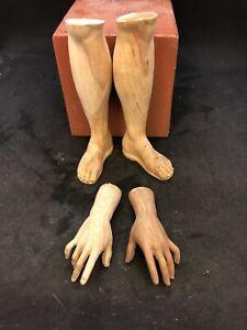 Un-Paio-Di-Piedi-mani-Legno-Figura-Uomo-per-figure-38-40-Cm-presepe-santo