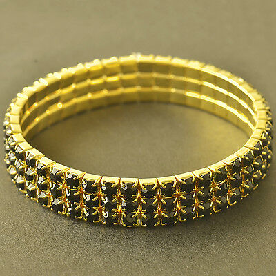 Womens Yellow Gold plated 3-Row Black Crystal Stretch Chain Tennis Bracelet