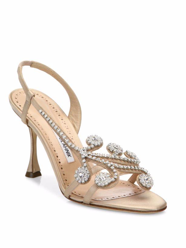 Neu Manolo Blahnik Fernusan Jeweled Cryst Hautfarben Satin Sandalen Schuh 39.5