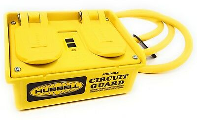 Hubbell GFP20M Portable GFCI w// Cord 120VAC 4 Outlet Circuit Guard  NEW in Box