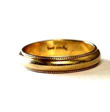 14k yellow gold milgrain wedding band ring 3.6mm vintage estate antique 2.5g