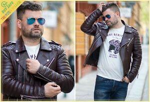 Burgundy Leather Jacket Men's Genuine Lambskin Slim fit Biker Motorcycle jacket
