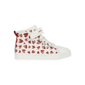 Dettagli su Geox J Ciak G A Sneaker Collo Alto Bambina J9204A 000AN C0050 White Red Rosso