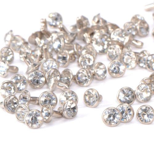 100pcs 7mm White Crystal Rhinestone Diamante Studs DIY Punk Leathercraft Rivets