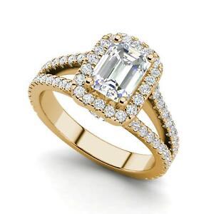 Pave Halo 2 65 Carat Vvs1 D Emerald Cut Diamond Engagement Ring Yellow Gold Ebay