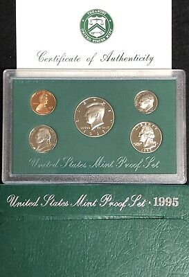 1995 United States Mint Silver Proof Set 5 coins w// Box and COA US