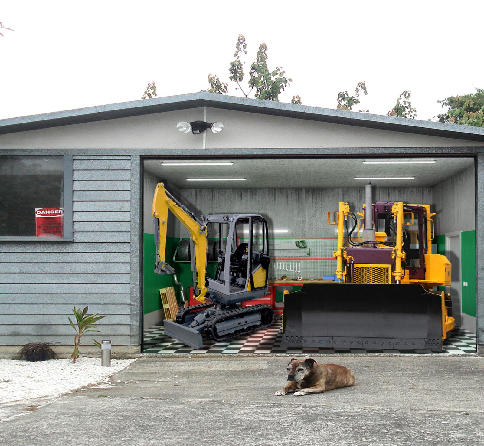 3D Moderne Baggers Garage Door Murals Wall Print Decal Wall Deco AJ WALLPAPER DE