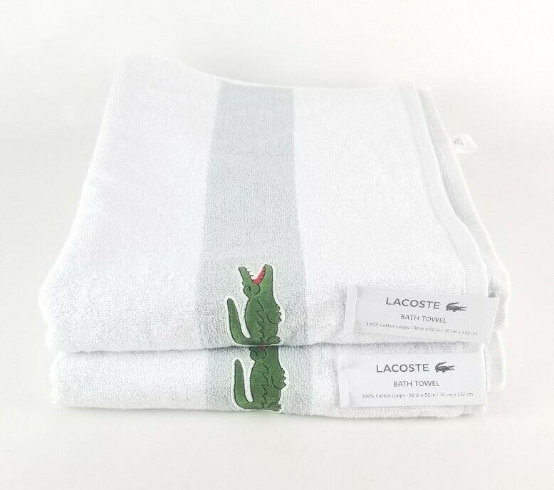 (Lot of 2) Lacoste Bath Towels White & Gray 100% Cotton 30x52
