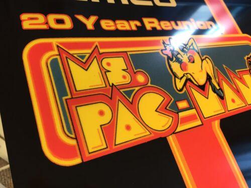 """Namco 20 Year Reunion Ms Pacman Galaga Arcade Marquee 23/"""" x 9/"""""""
