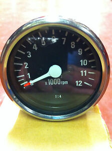 revcounter-tachometer-1-4-Mini-Tacho-revcounter-Clock-60mm-Black-Face-new-boxed