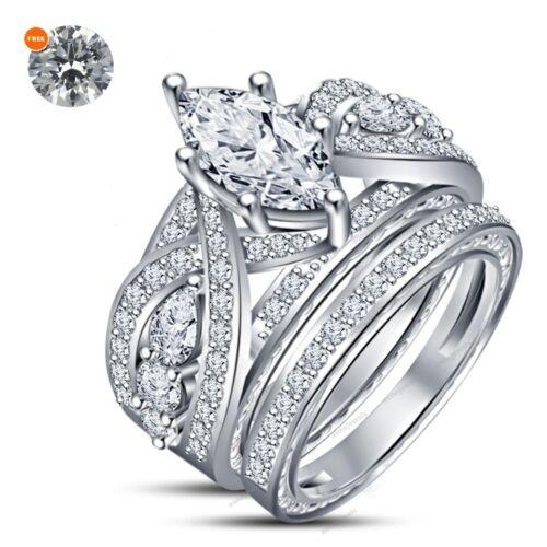 3.00 CT White Gold Over Marquise Diamond Womens Wedding Bridal Ring Set