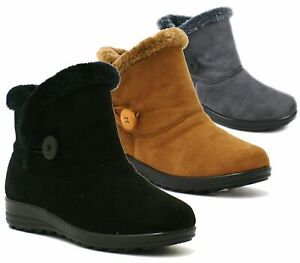 840f5266a49 Details about LADIES WOMENS FLAT WARM ANKLE COMFY WINTER LOW HEEL FUR LINED  SHOES BOOTS