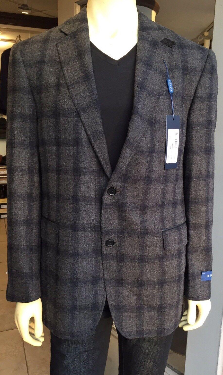 IBIZA NEW  grau/Navy Blau Plaid Wool Lined CRISTO Sport Coat Blazer 44R NWT