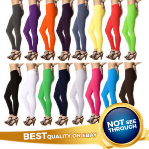 Womens-Cotton-Leggings-Full-Length-Plus-Sizes-8-10-12-14-16-18-20-22-26-28-30