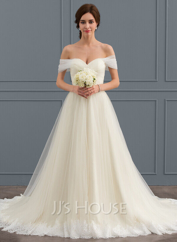 Ball Gown Off the Shoulder Court Train Tulle Lace Wedding Dress With Ruffle UK14