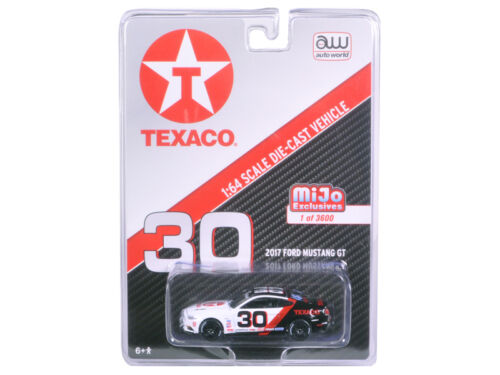 2017 FORD MUSTANG GT TEXACO RACING #30 BLACK//WHITE 1//64 CAR BY AUTOWORLD CP7438