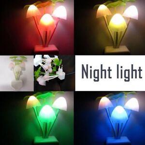 Schlafzimmer-Beleuchtung-EU-Stecker-LED-Pilz-Wand-Nachtlicht-Bettlampe