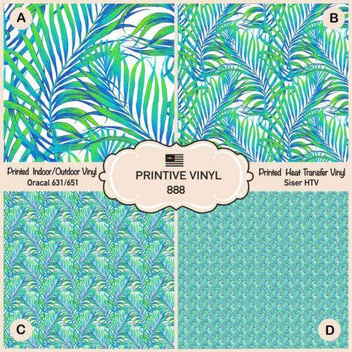 Heat Transfer Vinyl 888 Adhesive Vinyl Tropical palm Tree leaves Patterned HTV