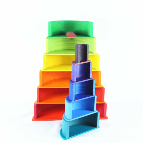 Kids Wooden Montessori Toys Rainbow Stacking Puzzle Color Shape Matching