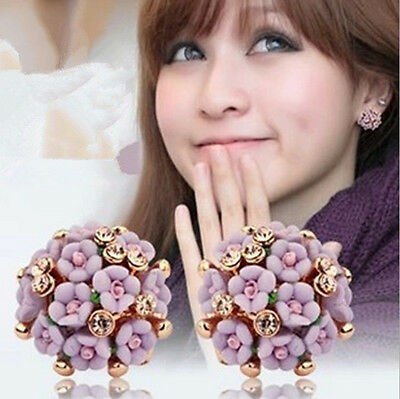 New Fashion Jewelry Women Flower Delicate Exaggerated Stud Allergy Earrings