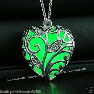 Glowing green necklaces silver heart pendants xmas gifts for her mum image is loading glowing green necklaces silver heart pendants xmas gifts aloadofball Image collections