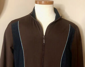 Tranquility-by-Soma-Women-s-Large-Zip-Up-Athletic-Jacket-Brown-w-Black-trim