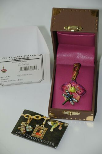 NEW  in Box JAY STRONGWATER Pink Orchid CHARM Dalia  RARE