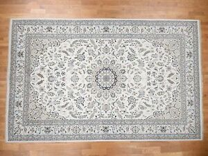 10'x16' HandKnotted Wool and Silk 300 Kpsi Ivory Nain Oversize Rug G43259