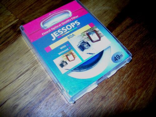 JESSOPS 80A TUNGSTEN LIGHTING DAYLIGHT COLOUR CONVERSION BLUE GLASS FILTER 49MM