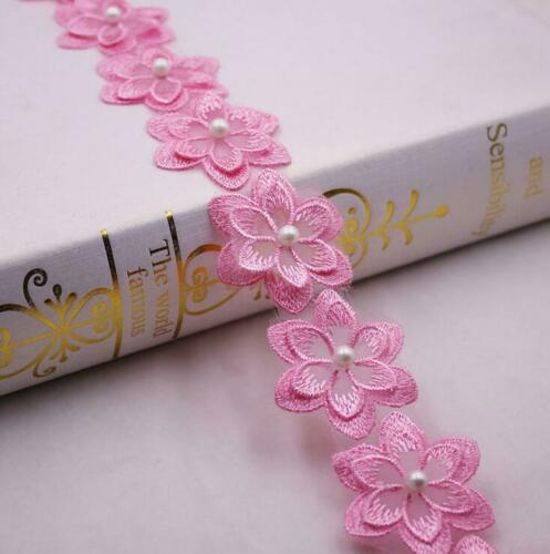 1 Yards embroidery Beading Flowers DIY clothing crafts sewing accessories