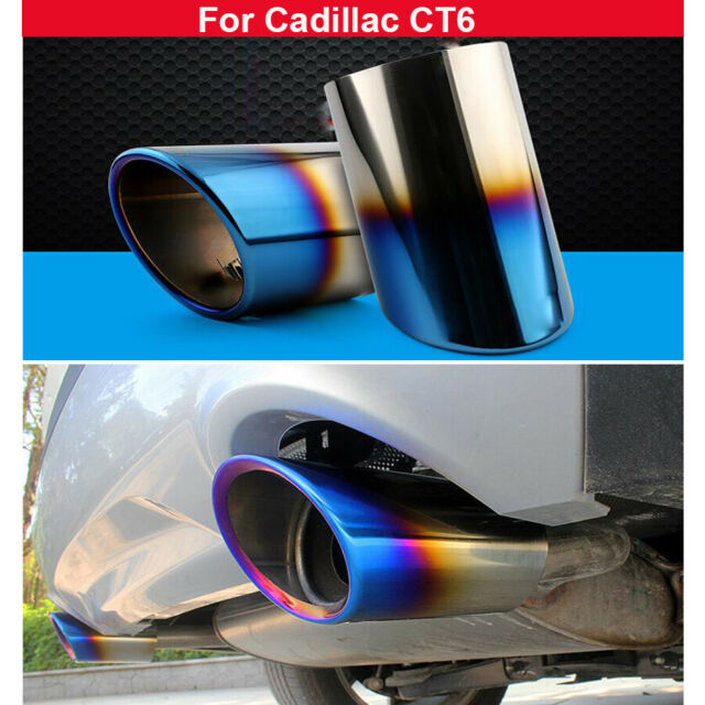 New 2pcs Blue Stainless Steel Exhaust Tail Muffler For