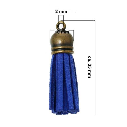 Kappe bronzef 10x Veloursleder Quasten Anhänger Farbenmix ca 10 x 35 mm