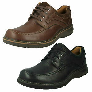 mens clarks unstructured leather wide smart casual un
