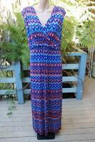 Rockmans Blue Print Maxi Dress Party-casual Wear Size M-14/16 Rrp$79.99