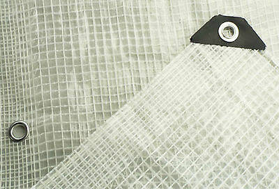 CLEAR REINFORCED TARPAULIN WITH NYLON MESH & REINFORCED EYELETS SHEETING TARP