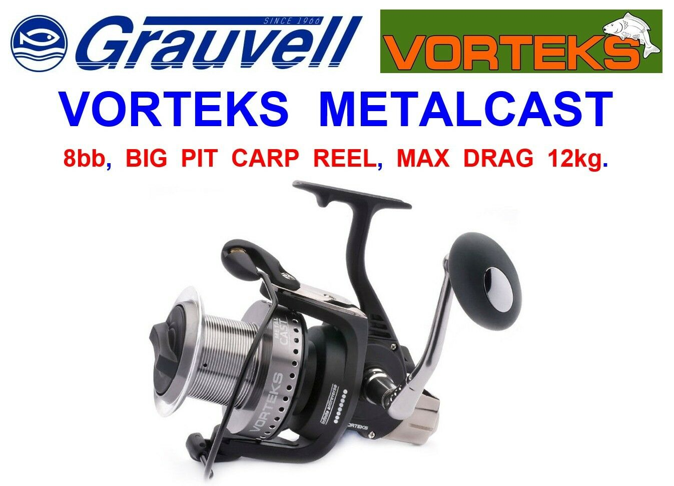 greyVELL VORTEKS METALCAST FD-7000 BIG PIT CARP REEL FOR SPOD MARKER ROD FISHING