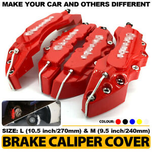 Universal 4Pcs Yellow Brake Caliper Covers Style Disc Car Front and Rear Kit L+M