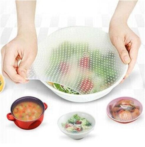 4,8* Food Fresh Keeping Silicone Saran Wrap Reusable Food Wrap Seal Cover strech