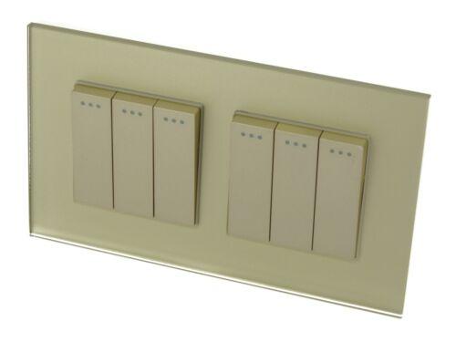 I Lumos doré verre et or 13 A UK Plug Single//Double douilles /& Interrupteurs