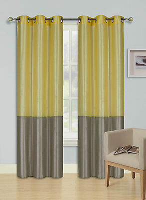 1 SET 2 TONE GROMMET ECLIPSE WINDOW CURTAIN BLACKOUT PANEL (EID) YELLOW - TAUPE