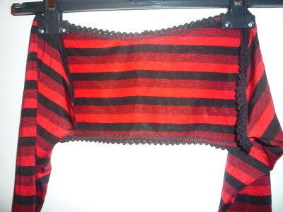 Cache-épaules Manches Longues Rayé Rouge & Noir + Dentelle - Red Striped Shrug