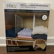 Evelots Set of 12 Closet Shelf Dividers for Wire Shelving Wire Design White