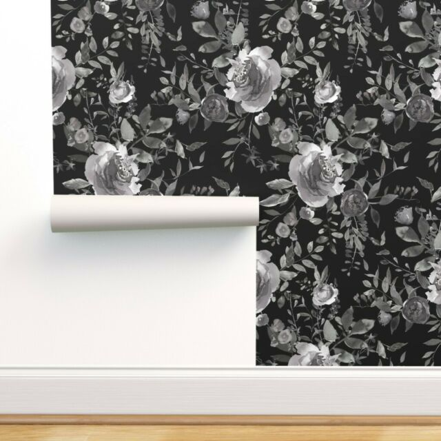 Peel And Stick Removable Wallpaper Dark Black White Boho Floral Garden Flowers For Sale Online