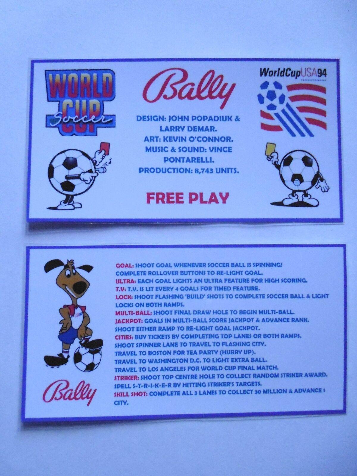 * 'WORLD CUP SOCCER' Bally 1994 Custom Instruction/Apron Cards * (New)