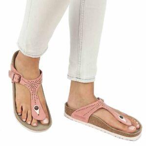 ce60023d165b Image is loading Birkenstock-Sandals-Gizeh-crafted-rivets-rose -nubuk-regular-