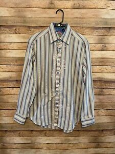 Robert-Graham-Mens-Blue-Gray-Red-Striped-LS-Button-Up-Shirt-Medium-Flip-Cuff-EUC
