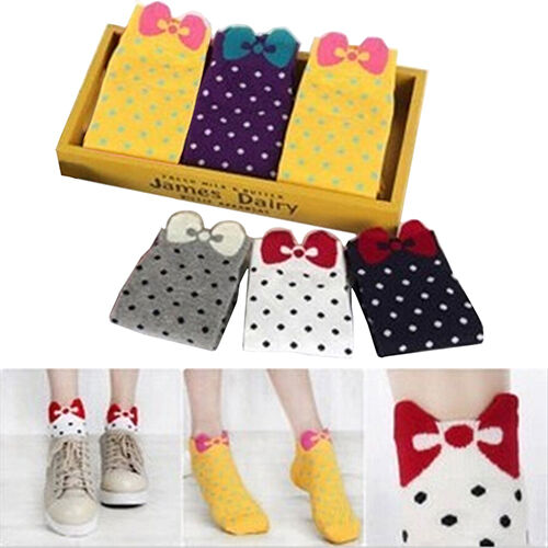 Women Well-Made Cute 3D Bow Polka Dot Pattern Cotton Blended Ankle Short Socks