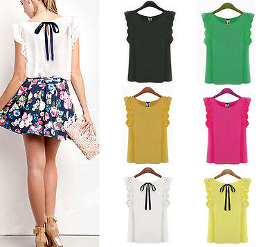 S-XL Women Sleeveless O-neck Lotus Leaf Lacing Bow Chiffon Shirt Tank Top Blouse